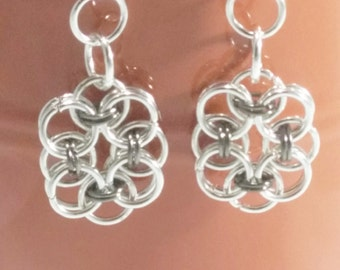 Lovely Chainmail Earrings, Silver Plated Chainmail