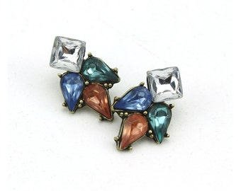 color crystal rhinestone stud earrings
