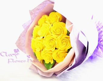 Yellow Roses Clay floral Bouquet~Made to Order