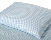 KIDS' LINEN PILLOWCASE  Blue and white checked linen / cotton pillowcase for kids .   Lightweight and  durable. Linen Buy