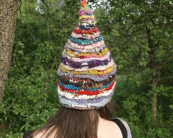 Pixie hat. Pointy cap. Fairy hat. Stocking cap. Wool pixie hat. Colorful hat. Pointed hat. Elf hat. Gnome hat. Festival hat.
