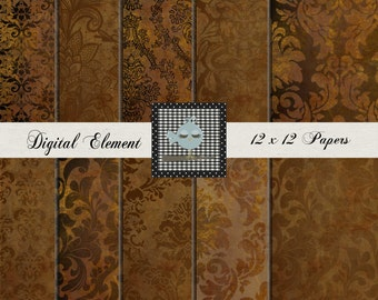 Digial Copper Paper, Digital Scrapbook Paper, Digital Photo Backdrop Paper, Scrapbook Digital Paper, Printable Background. No. P134.B