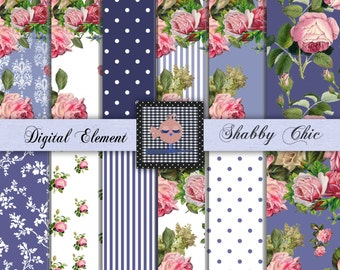 Digital Paper, Scrapbook Paper, Shabby Pink and Blue Digital Rose Paper, Shabby Chic Pink Roses, Floral Rose Papers. No. P89.DA