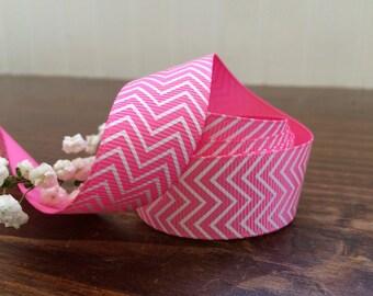 "7/8"" Hot Pink Chevron ZigZag Grosgrain Ribbon - Hair Bow - 5, 10, 25, 50 yards - HBC101013-17850038HP"