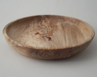 Wooden Decorative Bowl Maple Feather Crotch Handmade