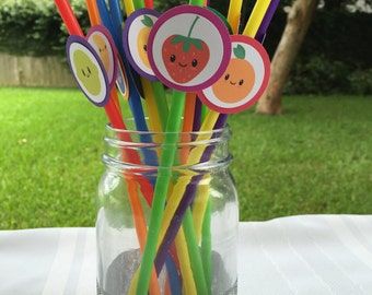 Tutti Frutti Straws,Tutti Frutti Birthday,Two-tii Frutti,Tutti Frutti Favors, No Face Fruits Available, Fruit Party,Picnic,Baby Shower