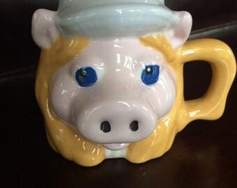 Vintage 1988 Ceramic Miss Piggy Coffee Mug Muppets Hand Made Pig Cup 1980's VTG Jim Henson