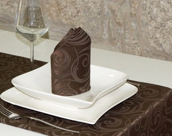Luxury Chocolate Table Runner - Anti Stain Proof Resistant - Pack of 2 units - Ref. Lyon