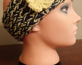 Yellow and Navy Blue  headband/earwarmer