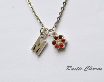 Personalized Ruby and Garnet Crystal Flower Initial Charm Necklace