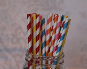Paper Straws/Drinking Straws/Striped Paper Straws/Colored Drinking Straws/Blue Striped Straws/Paper Party Straws/Red Striped Straws