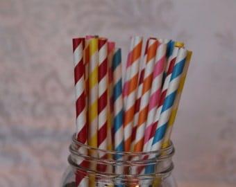 Paper Straws/Drinking Straws/Striped Paper Straws/Colored Drinking Straws/Blue Striped Straws/Paper Party Straws/Red Striped Straws