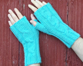Turquoise blue fingerless gloves, texting gloves, knit cabled mitts, knitted wrist warmer, hand made in usa, blue fingerless mitts / Ready