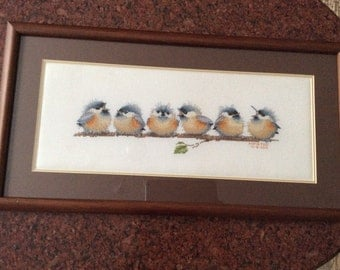 Chorus line completed cross stitch