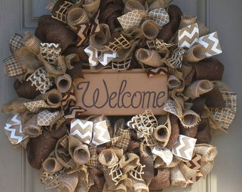 Welcome Wreath, Front Door Welcome Wreath, Earth Tones Wreath, Brown Welcome Wreath