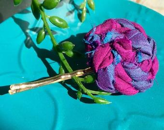 Silk flower hair clip