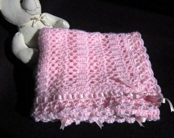 SHIPS FREE*, Pink Baby Blanket, Pink Baby Afghan, Crochet Pink Blanket, Baby Shower Gift, BabyGirl Gift, Lace Afghan, Ribbon, Baptism Afghan