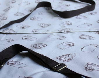 Guinea Pig Cotton Apron - Sketched Guinea Pigs Design