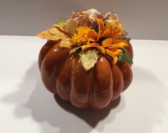 Thanksgiving Golden Pumpkin Centerpiece  Fall Centerpiece  Fall Floral