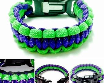 Reflective Survival Bracelet - Reflective Paracord Bracelet - Flint Paracord Bracelet - Flint, Signal Whistle, and Compass Paracord Bracelet