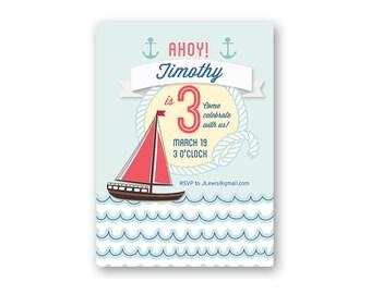 Nautical Baby Birthday Invitation - Printable Birthday Invitation - Birthday Invite - Digital Invitation