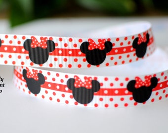 """7/8"""" Mickey Mouse Grosgrain Ribbon, Hair Bow and Scrapbooking Supplies, Ribbon by the Yard"""