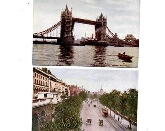 6 Vintage Unused Pre-Chrome Color Postcards J Salmon Sevenoaks  England ~  London Bridge ~ Buckingham Palace ~ Marble Arch ~ Antique Cars