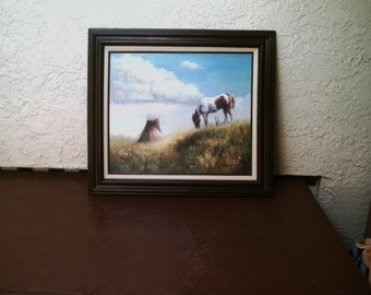 "Solenson Western Oil Painting on Canvas Horses in Field Tent in back ground Vintage Wood Frame 31"" x 27"""