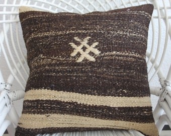 kilim pillow cover 18x18 flat woven Turkish kilim pillow 18x18 home decor kelim kissen 18x18 - 45x45cm vintage kilim pillow cover 185