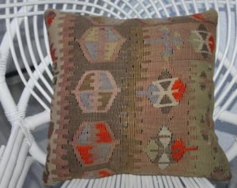 "Flat Woven Kilim Pillow 16x16 Turkish Kilim Rug Pillow Cover 16"" x 16"" Kilim Cushion Cover Tribal Pillow Decorative Pillow Ethnic Pillow 130"