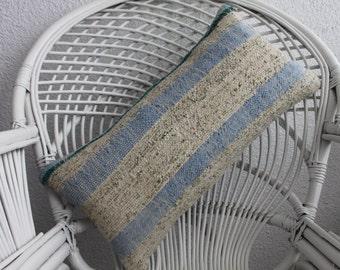 """Pale Blue and Beige Colours Turkish Kilim Pillow Cotton Fabric Kelim Kissen 12""""x24"""" - 30cmx60cm lumbar kilim pillow 12x24 cotton pillow 154"""