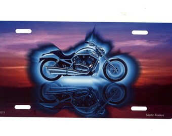 Motorcycle Sunset License Plate LP1011