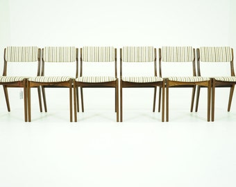 306-138 Danish Mid Century Modern 6 Rosewood Dining Side Chairs