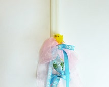 """15"""" Easter Double Greek Candle Lambada Decorated with an Easter Egg and a chick"""
