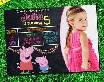 Peppa Pig Birthday Invitation, Peppa Pig Invitation, Peppa Pig Party Invitation, Peppa Pig Printable invitation