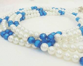 dog  blue&white pearl beads leash