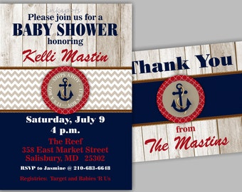 Boy Baby Shower Invitation Boy Nautical Baby Shower Invite Anchor Baby Shower Invitation Boy Nautical Party Decor Shower Invite BBNA01