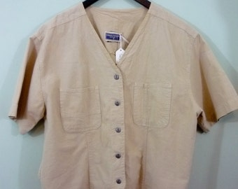 Boxy Safari Style Shirt / 1980s Cropped Short Sleeve Button Down Blouse / Modern Size Large to Extra Large / Oversized