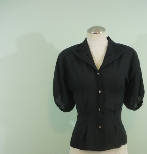 1970s does Victorian Sheer Black Blouse / Nipped in Waist / Lace Embellished Collar / Modern Size Medium to Small Large