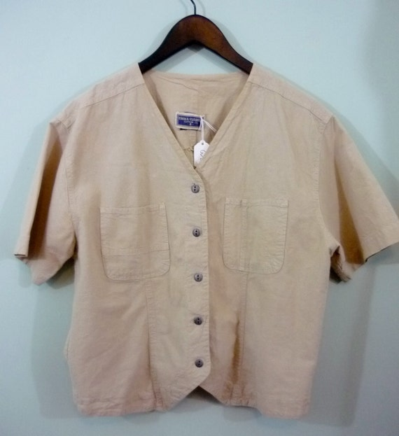 Boxy Safari Style Shirt / 1980s Cropped Short Sleeve Button Down Blouse / Modern Size Large to Extra Large / Oversized