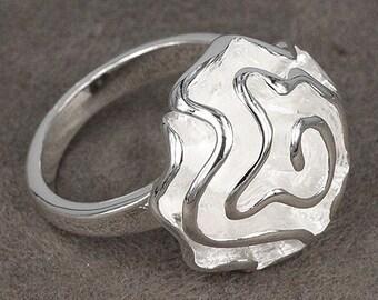 Sterling Silver Ring Rose Flower Ring .925 Sterling Silver