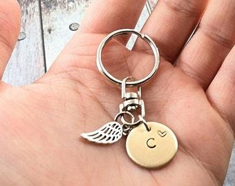 Memorial Keychain~ Memorial Key Chain~ Funeral Gift~ Custom Memorial~ Angel Wing Charm~ Infant Memorial~ Stillborn Memorial~ In Memory Of