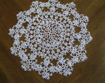 Large Handmade White Tatted Doily