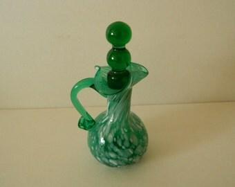 Rainbow Glass Co. Green Splatter Glass (Hand blown) Cruet w/Stopper