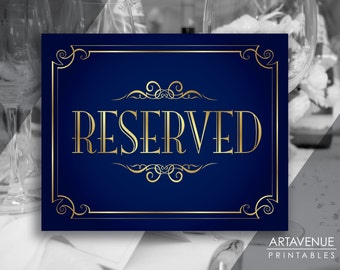 "Navy & Gold Wedding Printable Decor Art - ""RESERVED"" Sign - Elegant Party Signs digital file - NG1"