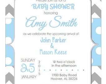 Twin Boy Baby Shower Invite