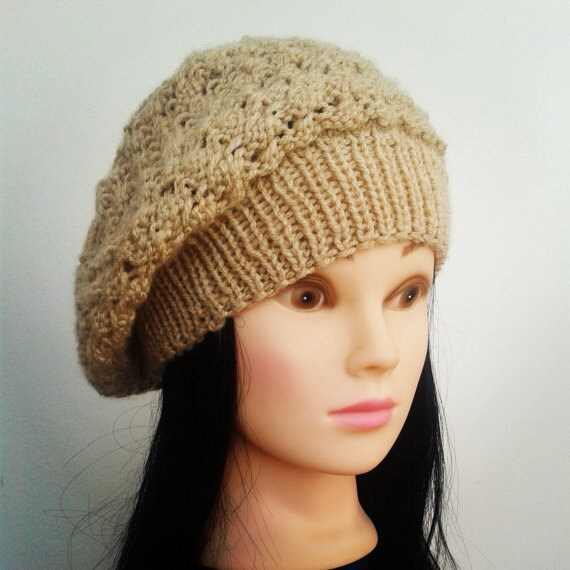 Knitting Pattern For Womens Beret : Items similar to Knit hat / beret - Beige-Women Slouchy Hat, Beret,Spring Fas...