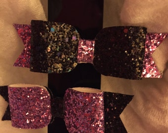 Large purple and black glitter bow pair