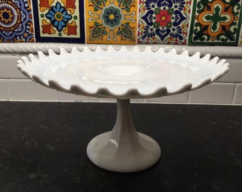 Vintage Milk Glass Cake Stand, Pedistal, Plate