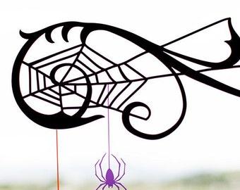 Spider web window cling Halloween decor